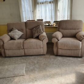 Kelbrook 2 seater electric recliner sofa with matching static armchair