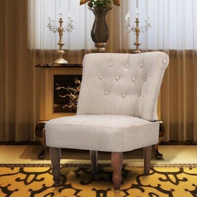 Vintage French Armchair Shabby Chic Chair Cream Small Living Room Bedroom Seat
