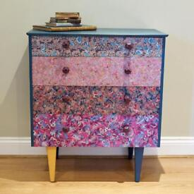 Upcycled painted and decoupaged chest of drawers