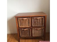 Wood and wicker set of drawers