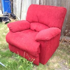 Red recliner arm chair