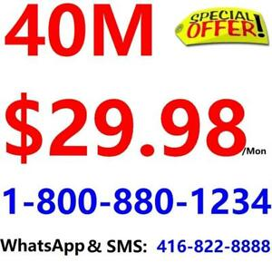 Unlimited Internet , no contract , LOWEST PRICE - $30/month  . Please Call 1-800-880-1234 or SMS 613-553-8888 to order