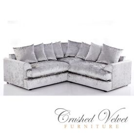 New Jamba Crushed Velvet Corner Sofa for £359 dual arm in Silver colour furniture