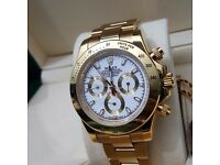 New Gild Rolex Daytona with White Face Comes Rolex Bagged And Boxed With Paperwork