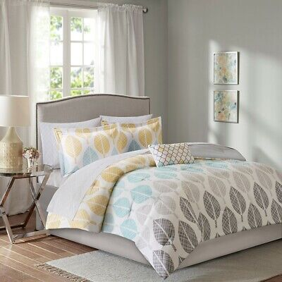 Queen Central Park Complete Comforter&Cotton Sheet Set Micro Fiber, Yellow Blue Central Park Queen Bed