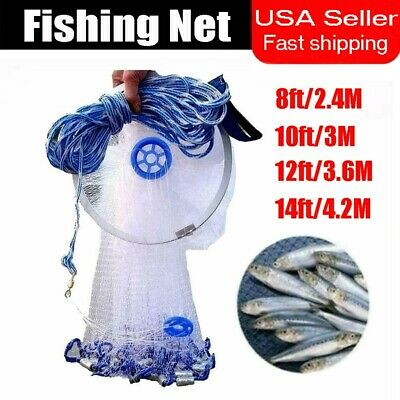 8/10/12/14/ft Dia Hand Cast Fishing Mesh Saltwater Bait Drawstring Catch Net USA