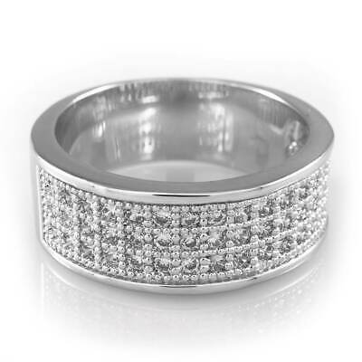 18K White Gold Pinky Men Women Ring Bling Out Iced BAND Engagement MICROPAVE CZ Engagement Pinky Ring