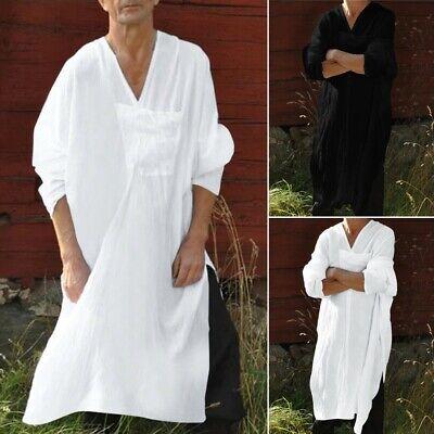 Men Oversized Length Solid Long Sleeve Big Pocket V Neck Vintage T Shirts (Long Length Long Sleeve T Shirts Mens)