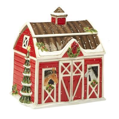 Susan Winget Holiday Horse Barn Cookie Jar Western Christmas on the Farm 22810