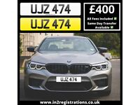UJZ 474 - 3 digit Short NI Number Plate -Cherished Personal Private Registration plate-CAR,VAN,LORRY