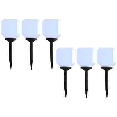 vidaXL 6x Outdoor Solar Lamps LED Cubic 20cm White Garden Patio Path Lights