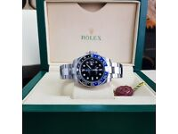 Silver Romex Gmt Master wuth Blue/Black Bezel Comes Rolex Boxed with Paperwork
