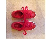 M&S girls red glittery tie pumps in a size 2, unworn, excellent condition