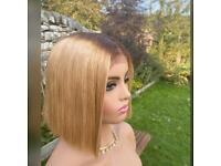 Short blonde long lace closure wig