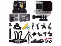GoPro HERO4 Black Edition +64GB SanDisk +2 Battery +30pcs