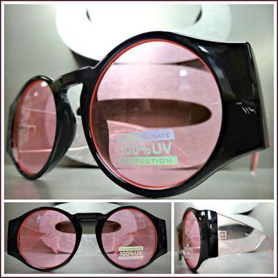 Klassisch Retro-Stil Sonnenbrille Groß Dick Rund Schwarz & Rosa Rahmen