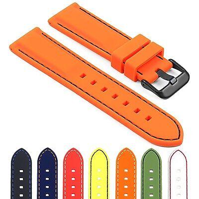 StrapsCo Premium Silicone Rubber Watch Strap Divers Band w/ Matte Black (Matte Black Rubber)