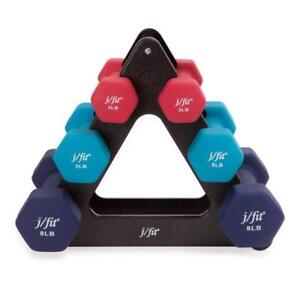 New J/FIT  32-Pound Dumbbell Set with Rack (2 Available)PU2