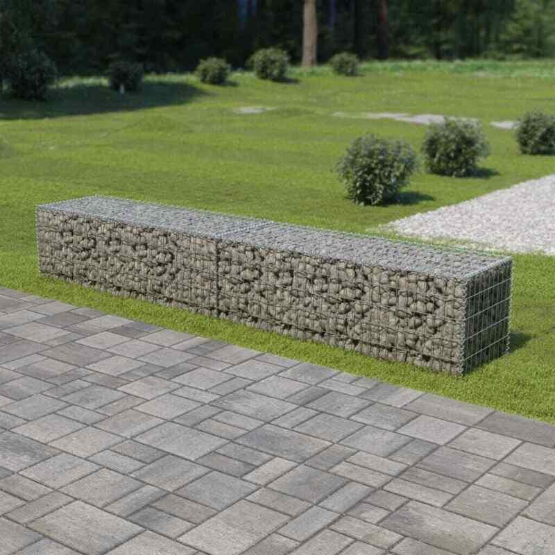 "vidaXL Gabion Wall with Covers Galvanized Steel Garden Fence 118""x19.7""x19.7"""