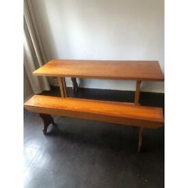 Pine refectory table and benches