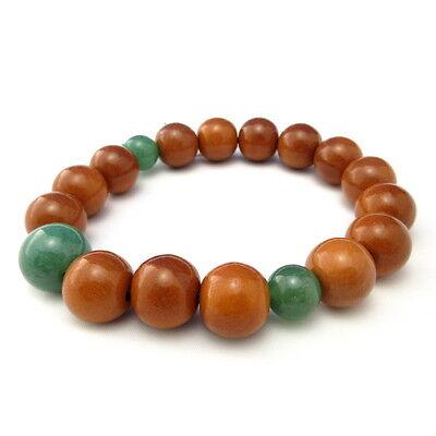 Tsuge Buxus Wood & Green Aventurine Quart Jade Stone Bracelet Juzu Rosary Prayer