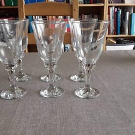 Six large wine glasses
