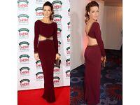 Original Jenny Packham Burgundy Embellished Evening Dress Size10