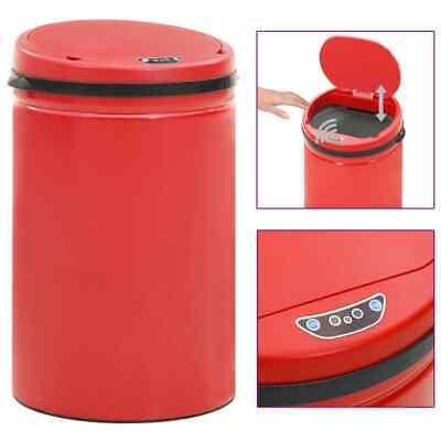 vidaXL Automatic Sensor Dustbin 30L Carbon Steel Red Kitchen Waste Dust Bin