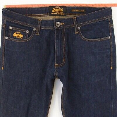 Mens SuperDry CORPORAL SLIM Stretch Slim Straight Blue Jeans W35 W36 L34