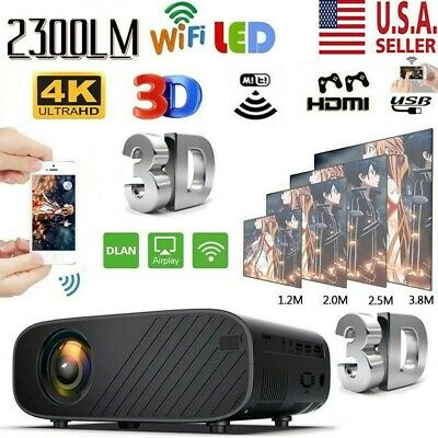 1080P HD WiFi 3D LED Mini Video Projector Portable Home Cinema 23000 Lumens 4K