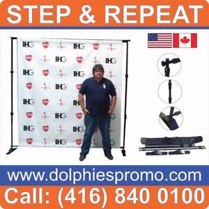 8 x 8 ft Telescopic Back Wall Trade Show Wedding Event Back Wall Backdrop Step-n-Repeat Display Stand