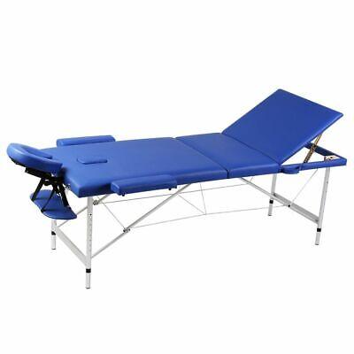 vidaXL Mesa de Masaje Camilla de Masaje Aluminio Plegable 3 Zonas + Bolsa, Azul