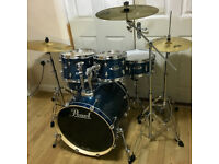 Refurbished Pearl Export (Current Series) Drum Kit in High Voltage Blue with Cymbals