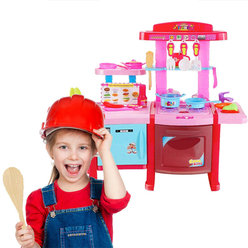 Kitchen Playset For Girls Pretend Play Toy Cooking Set with