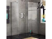 800x800mm - 8mm - Premium EasyClean Wetroom Panel, Return & Side Panel (shower enclosure)