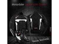 Motorbike Jacket Cordura Coat Waterproof Motorcycle Leather Boots Riding