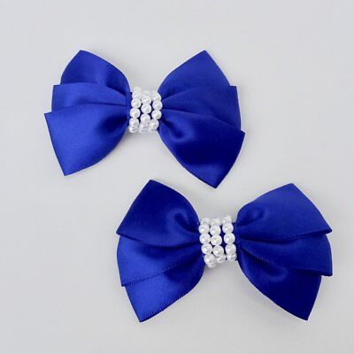 """Girls Set of 2 Satin Hair Bow Clips 3"""" Long- Royal Blue for sale  Shipping to India"""