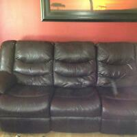 Brown leather recliner couch