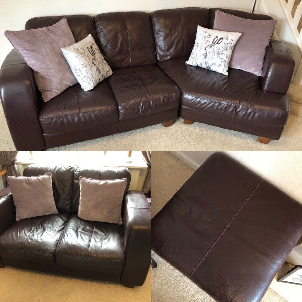 Price Reduced Purple Leather Dfs Right Corner Sofa Two