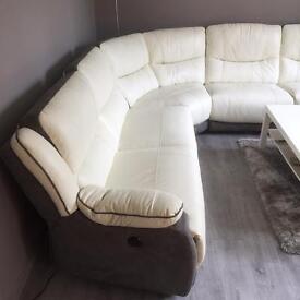 La-z-boy electric recliner leather corner sofa ecru