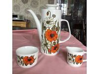 1960's Poppy design Coffee Pot, Jug & Basin.