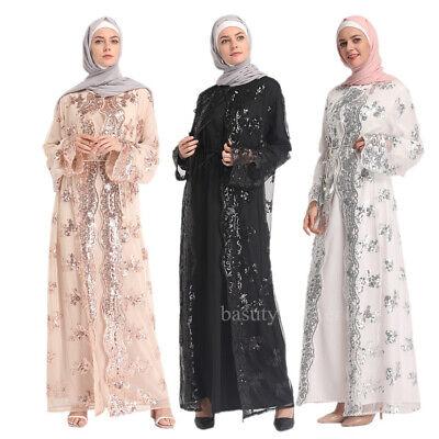 - Dubai Abaya Kaftan Maxi Dress Women Muslim Sequins Open Front Cardigan Clothes