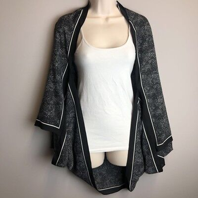 A New Day Womens Kimono Cape Black and White Dots Throwover Jacket One - Womens Black Cape