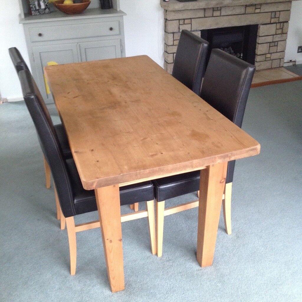 Wooden oak table ( handmade ) 4 x John Lewis chairs