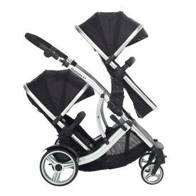 Tandem pram with accessories (two seats, car seat, rain covers, bag, footmuffs) Kidz Cargo