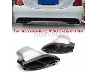 Pair Exhaust Muffler Pipe Tips For Mercedes-Benz W205 C-Class C220 C250 C300 C450 AMG