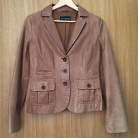Marks and Spencer Autograph Fitted Tan Leather Jacket
