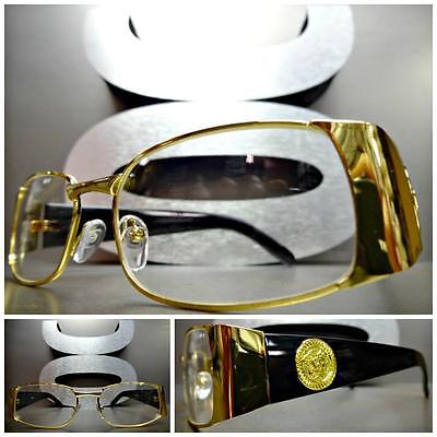 CLASSIC VINTAGE RETRO Style Clear Lens EYE GLASSES Gold & Black Fashion Frame