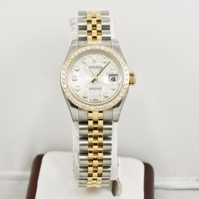 Unused Rolex 26mm 179173 Datejust Anniversary Diamond Dial Custom Diamond Bezel
