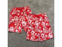 2 M&S red & white hibiscus flower swim shorts Age 7-8
